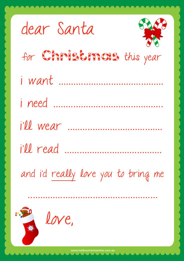 write a letter to santa what you want for christmas