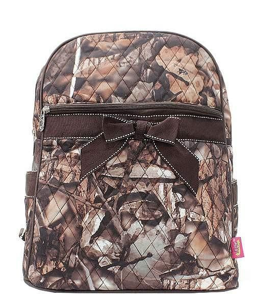 Camouflage Print Quilted Backpack Brown Trim