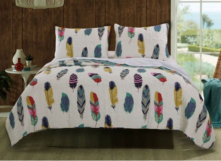 King Quilt Set Bird Feathers 3 PC Dream Catcher Style Reversible Bedding Nature #KingQuiltSet #NatureFeathers
