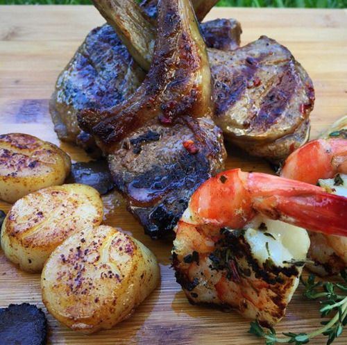 Succulent Australian Lamb cutlets and tiger prawns marinated with @caribeque Pork & Poultry Rub Honey accompanied with enoki mushrooms and scallops pan fried with butter oil black truffle and thyme  served with #salad#prawns#scallops#truffle#certifiedgrilllover#dinner#meat#grill #bbq #mushrooms#salad#lunch#barbecue#lchf#paleo#keto#healthy#healthyeating #kickboxing #f#food#foodporn #healthyfood #healthyeating #kickboxing #fitness#diet#lamb#glutenfree#seafood - Inspirational and Motivational…