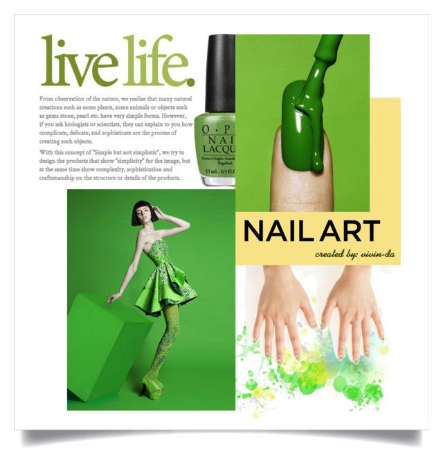"""""""Splash My Nails with Green"""" by vivin-da on Polyvore featuring beauty, MINX, Farrow & Ball, OPI and nailedit"""