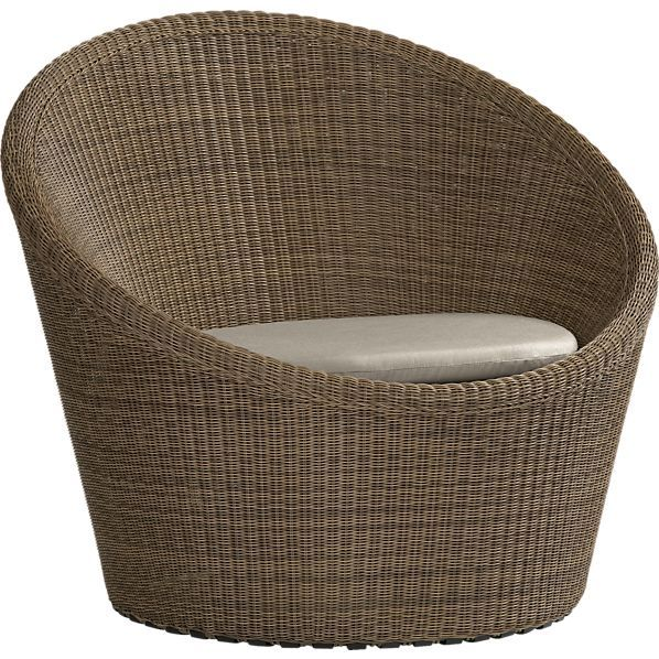 calypso mocha swivel lounge chair with sunbrella stone cushion in outdoor seating crate and