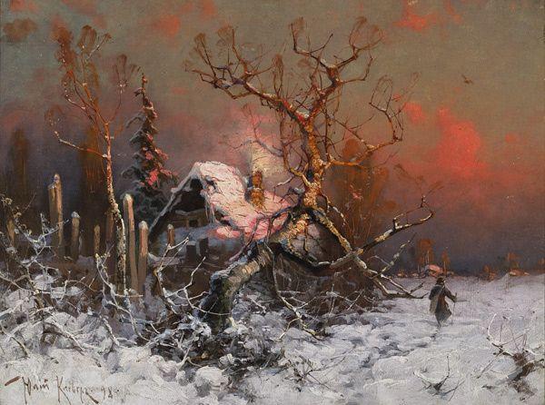 Yuliy (Julius) Klever(Russian, 1850-1924)    Winter Sun Dawn  1891     Oil on canvas