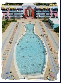 Bowling pin shaped pool, the best place to relax after a long day at the parks.