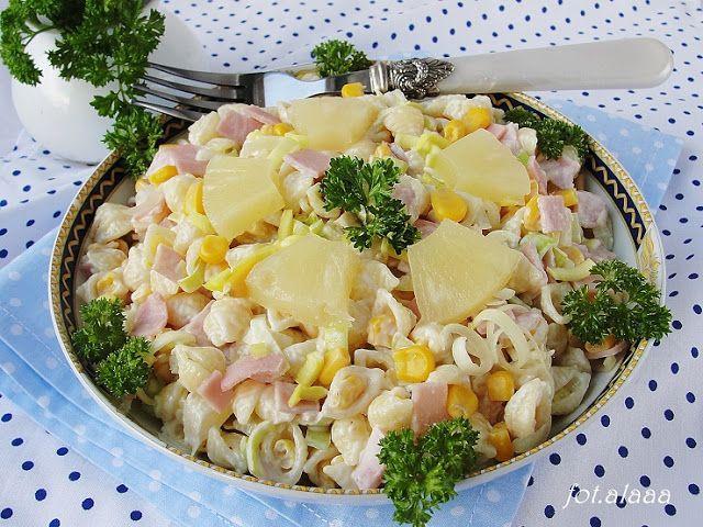 Ala piecze i gotuje: Sałatka makaronowa z ananasem i kukurydzą