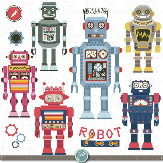 "Robots Clipart pack ""ROBOT CLIP ART"",Vintage Robot,Cute Robots,Robots, Funny Robot perfect for scrapbooking,invitations,party card Rb001"