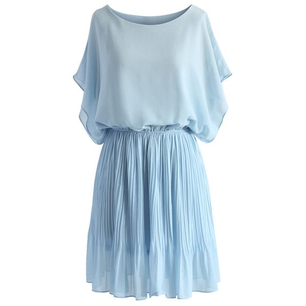Chicwish Beauty Pleats Batwing Dress in Pastel Blue (£27) ❤ liked on Polyvore featuring dresses, vestidos, robe, short dresses, blue, line dress, blue mini dress, short blue dresses, short pleated dress and pastel dresses