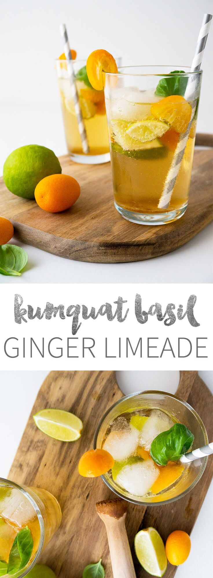 This tasty refreshing Kumquat Basil Ginger Limeade is perfect when you want a fancy drink but don't want a headache on the next day!