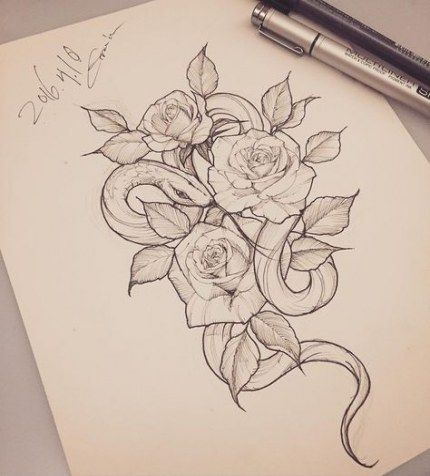 66 Ideas For Tattoo Snake Rose