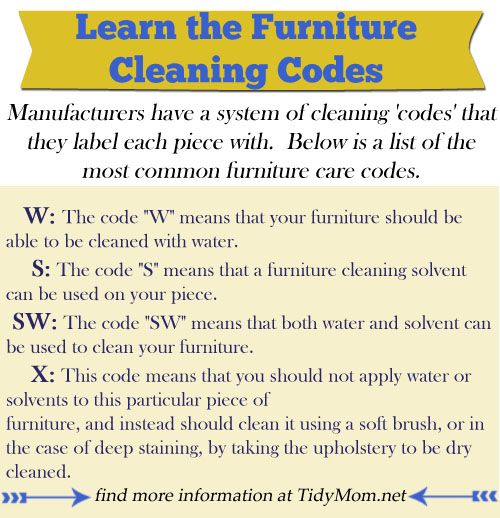 Furniture Cleaning Codes at Tidymom.net. Important to know. The post also shows how to clean upholstered furniture.