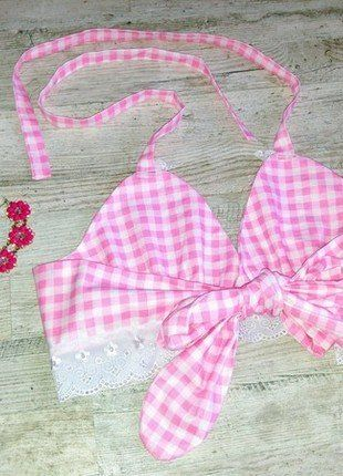 Kup mój przedmiot na #vintedpl http://www.vinted.pl/damska-odziez/topy-koszulki-i-t-shirty-inne/17471819-rozowy-bralet-w-kratke-nowy