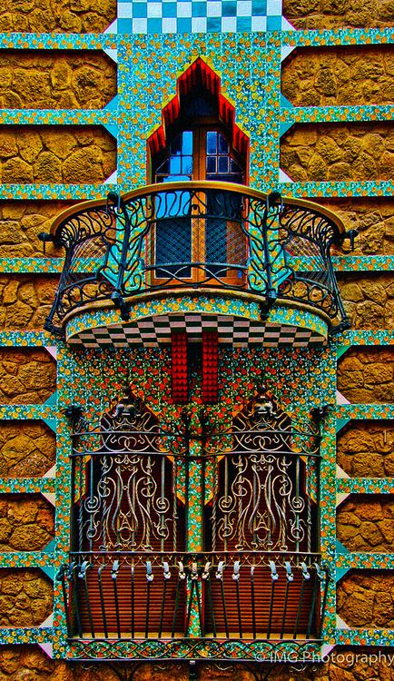 Part of Casa Vicens designed by Antonio Gaudi, Barcelona, Spain