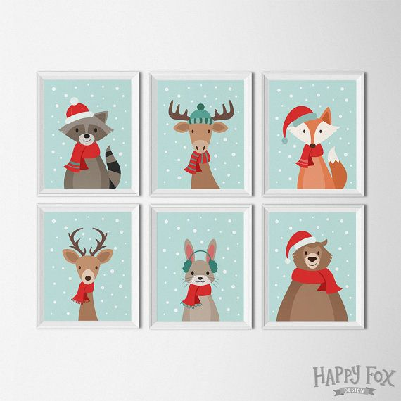 Christmas Woodland Animal printables, holiday Decor, christmas artwork, holiday prints, seasonal art, winter decor, xmas wall art, kids room