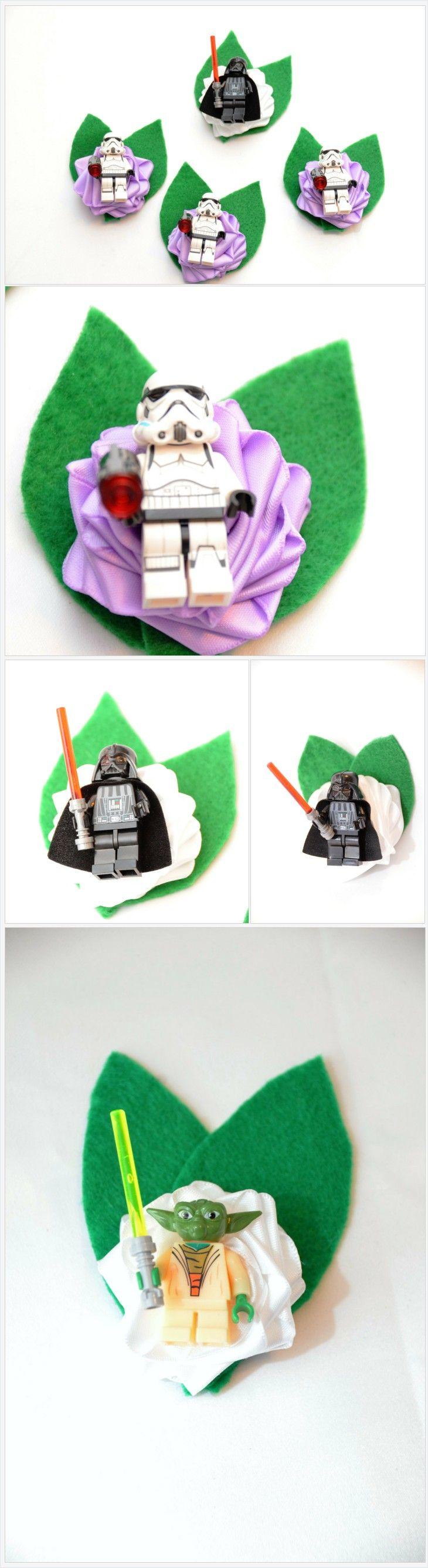 Wedding Geek Nerd Brick Style Boutonniere ~ Star Wars ~ Darth Vader ~ Luke Skywalker ~ Han Solo ~ Yoda ~ Sith Lords https://www.thedivinitybraid.com/listing/486184518/wedding-geek-nerd-brick-style