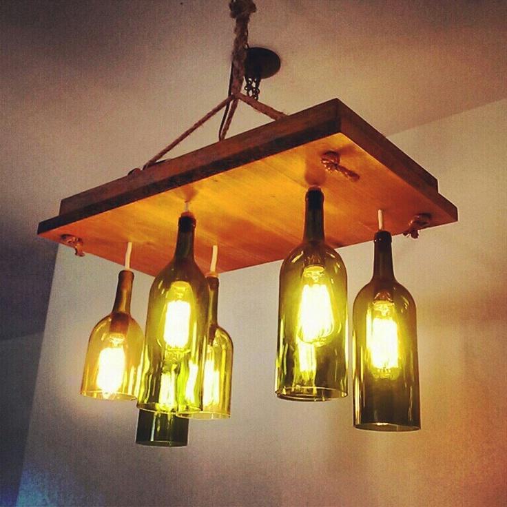 210 best images about re scape chandeliers on pinterest for Diy solar wine bottle lights