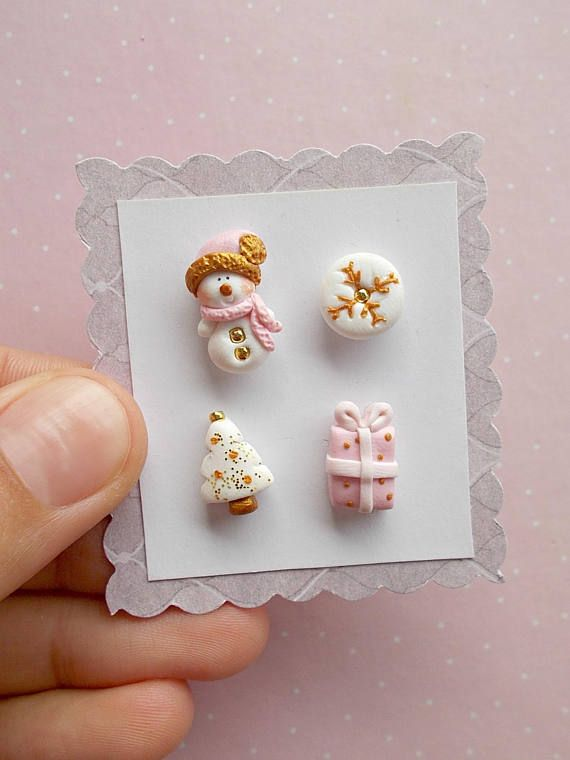 Christmas Earrings Set  Snowman Earrings  Snowflake Earrings