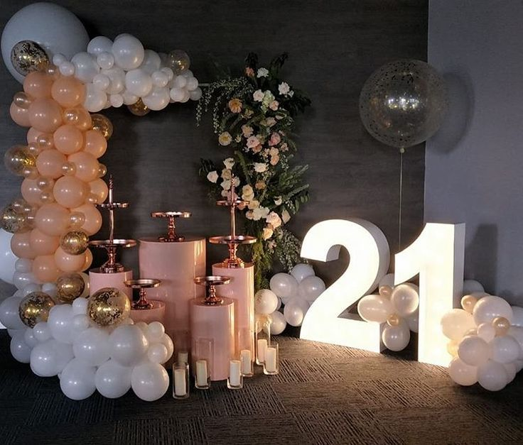 Love Seeing Replica Set Ups Of My Work Happy 21st Birthday To Beautiful Isabell Balloon Decorations 21st Party Decorations 21st Bday Ideas 21st Birthday Party Themes