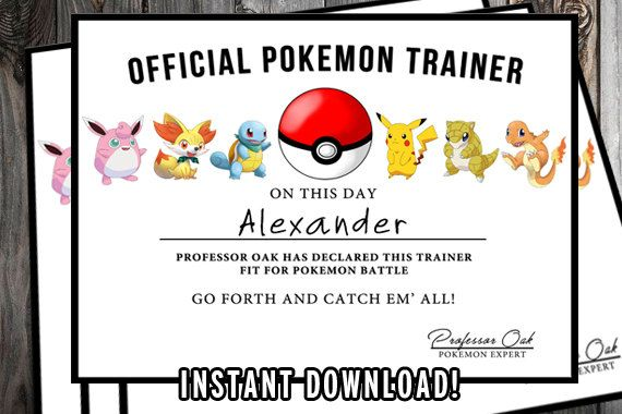 Pokemon Certificate - Pokemon Trainer Certificate - High Quality 300 dpi 8.5 x 11 PDF &JPG - Digital File - INSTANT Download! Are you feeling confident in your abilities as a Pokémon Trainer? Now that you've completed your training, you can have a Pokémon Master certificate to prove it! :P This awesome Pokemon Party favor is great for your next birthday party for your little pokemon fan. This would make a great favor for the kids. --- Alternatively, you can hang it on your bedroom or of...