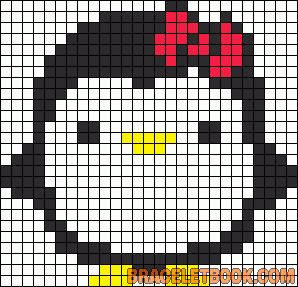 muster für stickereien color chart duplicate stitch Penguin with bow - free cross stitch or hama beads pattern (dup stitch)