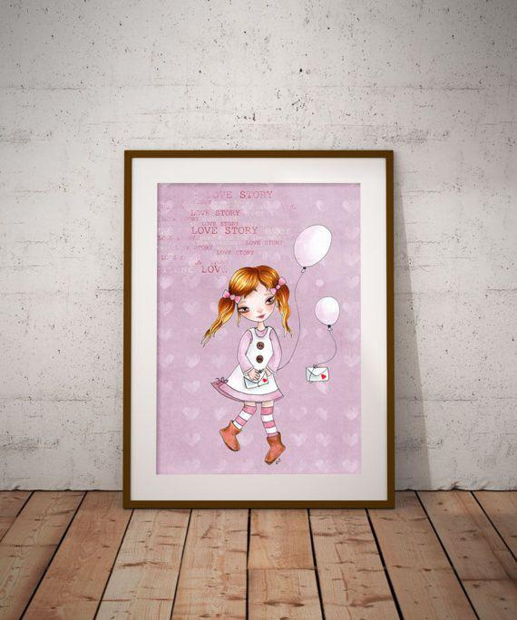 love story Pink Girl balloons Girl Nursery Wall Decor Kids
