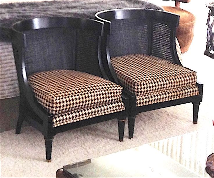 Pair of James Mont ebonized wood gondola form chairs w/caned backs and seats, brass capped sabots, upholstered in a large scale black and cream houndstooth wool.