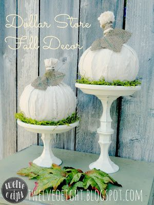 Dollar Store Fall Decor: Pumpkins with Holders