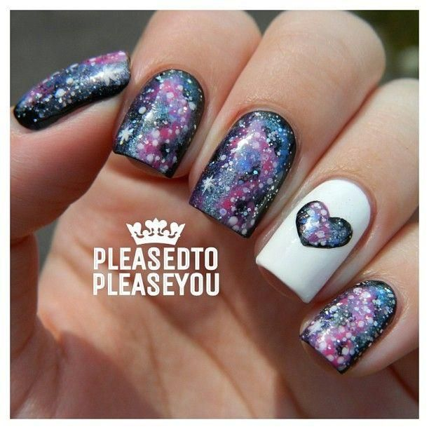 Galaxy Heart Nail Art