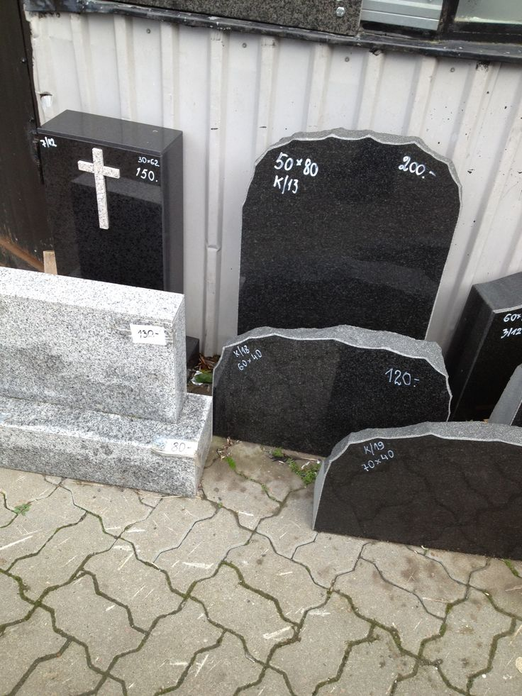 Headstones for sale in the Balti Jaam market in Tallinn, Estonia.