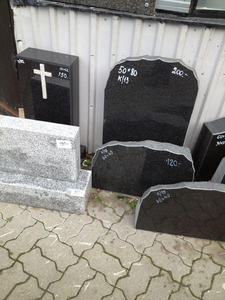 Headstones for sale in the Balti Jaam market in Tallinn, Estonia.