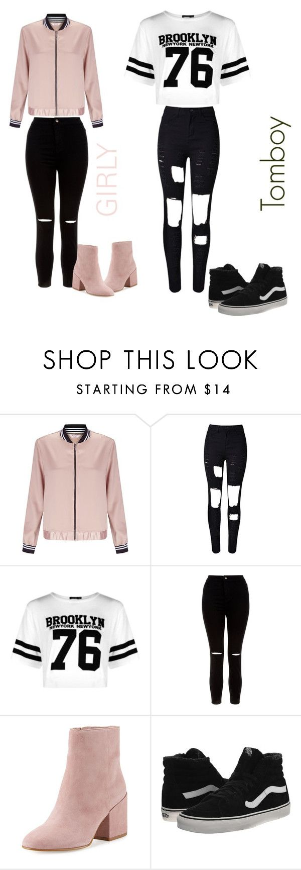 """girly vs tomboy"" by fashionkweeen ❤ liked on Polyvore featuring Miss Selfridge, WithChic, Boohoo, New Look, Sam Edelman and Vans"