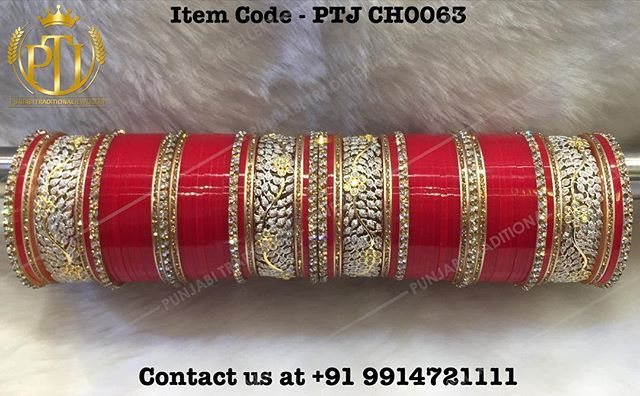 """Punjabi Traditional Jewellery™ """"American Diamond Red Wedding Churra"""" Item Code - PTJ CH0063 For price please inbox with Image or WhatsApp at this number +91 9914721111 or you can email us at punjabijewellery@gmail.com #Punjabi #traditional #jewellery #jewels #kundan #tika #earring #wedding #viah #sikh #shagun #hudabeuty #calofornia #usa #australia #canada #uk #kuwait #punjab #insta #facebook #fashion #bollywood #online #Chura #Bride #Choora"""