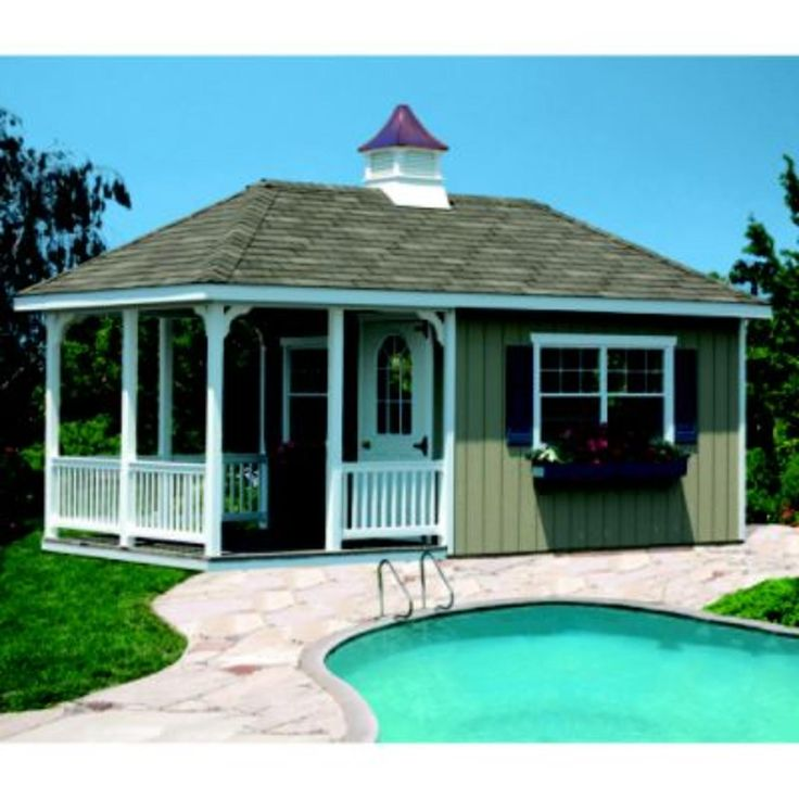 Homeplace by suncast pool house 10 ft x 20 ft lawn for 20 ft garden pool