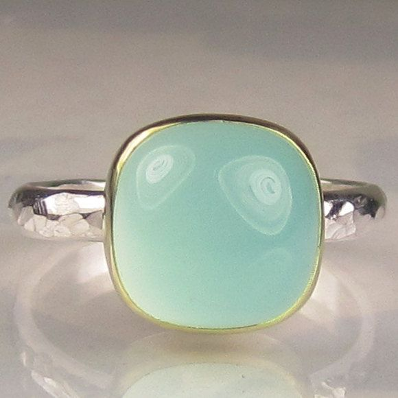 Square Sea Green Chalcedony Ring - 18k Gold an Sterling: Gemstone Cocktails, Cocktails Rings, Green Chalcedony, Sterling Silver, Sea Green, Green Rings, Rings 18K, Chalcedony Rings, 18K Gold