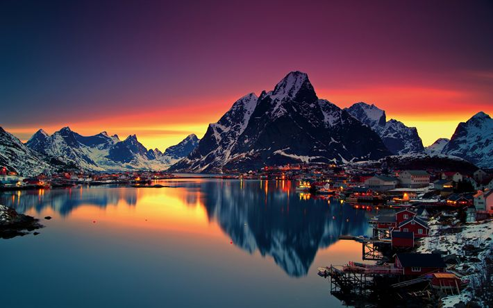 Download wallpapers Norway, 4k, winter, sunrise, mountains, sea, Lofoten islands, Europe