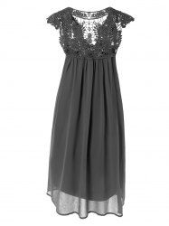 Plus Size Hollow Out Lace Spliced Mini Dress in Deep Gray | Sammydress.com Mobile
