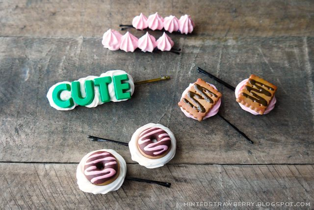 DIY: Decora Donut Hairpins @mintedstrawberry.blogspot.com #plaidcrafts #modpodge #kawaii #lolita #decoden #polymerclay - see the full how to using Mod Podge Collage Clay, Mod Melts and Molds #decoden and mixed media crafts #plaidcrafts #DIY #modpodge