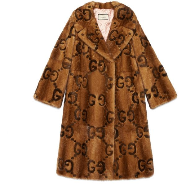 Gucci Mink Gg Intarsia Coat ($53,085) ❤ liked on Polyvore featuring outerwear, coats, coats & furs, mink, ready-to-wear, women, mink coat, gucci coat, gucci and mink fur coat