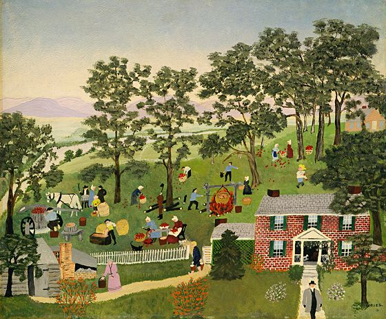 """Anna Mary Robertson (""""Grandma"""") Moses  Apple Butter Making   1944/1947  private collection  © Grandma Moses Properties Co.  courtesy Galerie St. Etienne"""