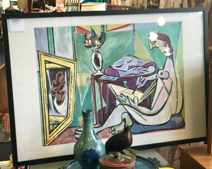 "Picasso Picture   37"" Wide x 25"" High   $125  Kim's Hunt Mid Century  Dealer #21  Top Drawer Mid Mod Shop 10622 E. Northwest Hwy. Dallas, TX 75238"