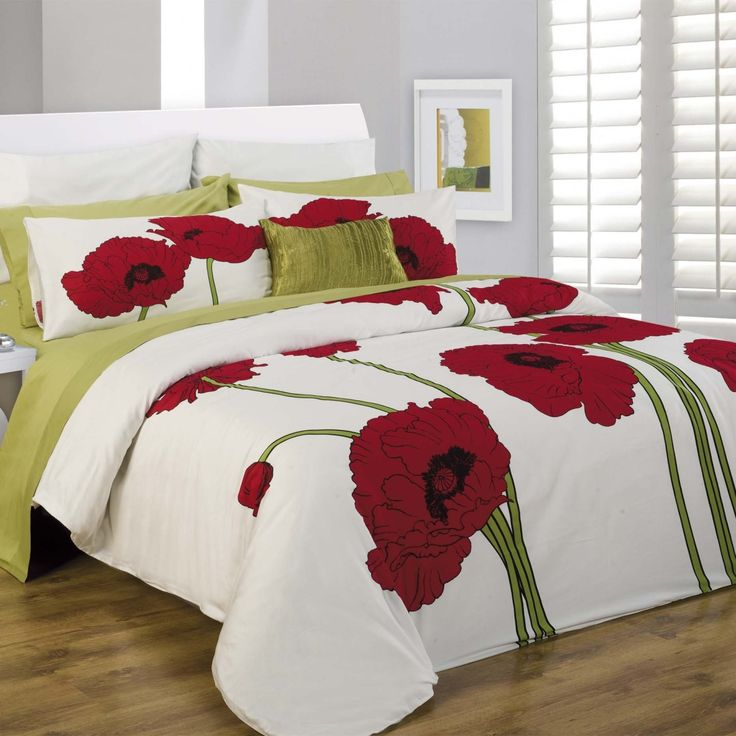 Grey And Lime Green Bedding Daniadown Red Poppy Floral