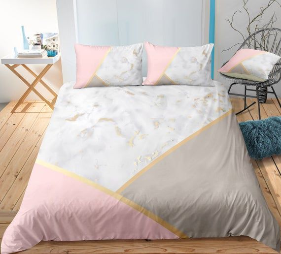 Pink Marble Duvet Cover Blush And Gray Geometrical Nordic Etsy Marble Duvet Cover Pink Bed Covers Modern Bed Sheets
