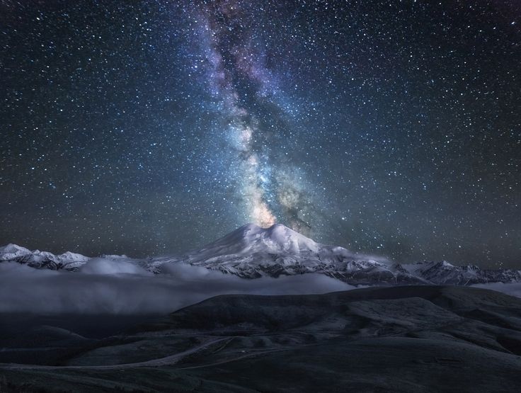 Starry night on Mount Elbrus, Russia