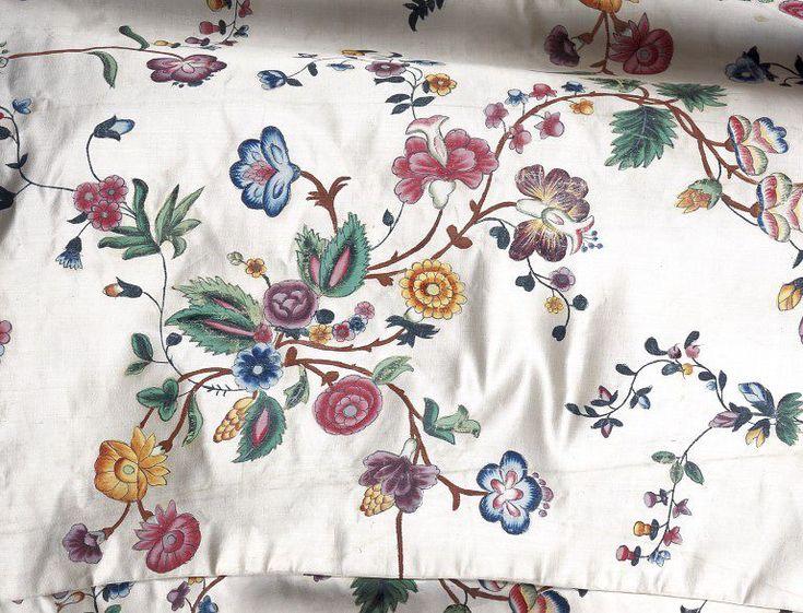 1770s_V silk satin hand-painted silk satin fabric