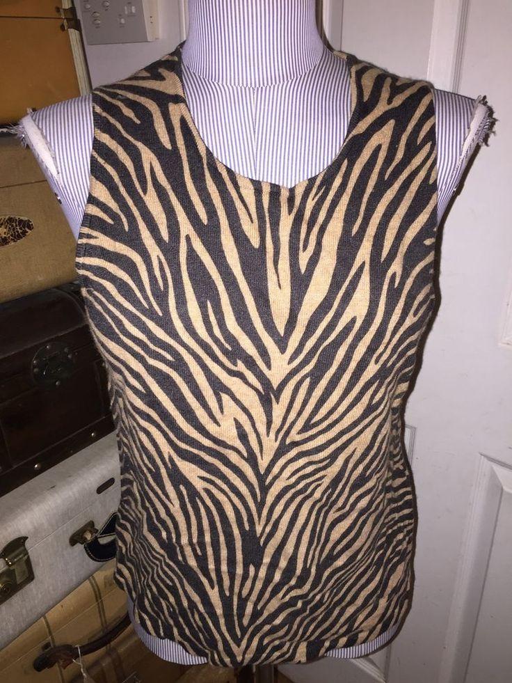 ann taylor khaki black tiger zebra stripe angora wool sleeveless sweater L #AnnTaylor #sleevelessshell