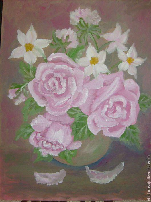 Картины цветов ручной работы. Ярмарка Мастеров - ручная работа. Купить Шоколадные розы, масло. Handmade. Картина, позитивная живопись
