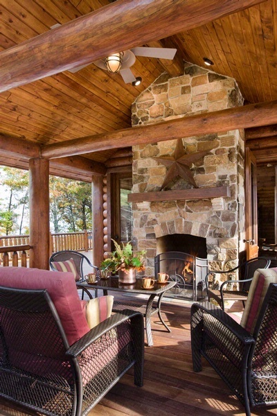 Screen porch fireplace