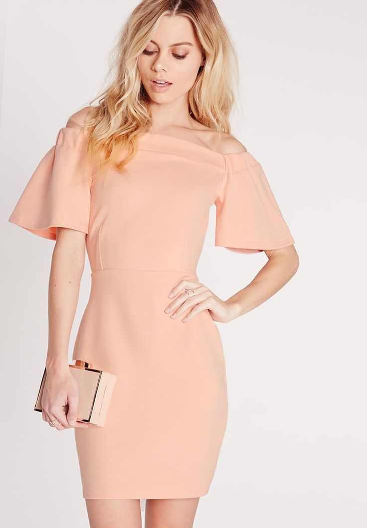 Frill-sleeve bardot dress