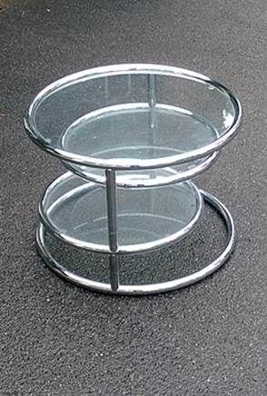 70erjahre Chrom Beistelltisch Clubtisch Stahlrohrmöbel  runder Chromtisch mit ausklapbaren Glastablaren  seventies original chrome sidetable glass www.retrodesign.ch