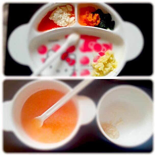 1食目  さつまいもパン粥、小松菜のにんじん和え、豆腐のトマトソースがけ  2食目   にんじんとろとろスープ、麩 - 1件のもぐもぐ - 離乳食初期 2回食 by るか
