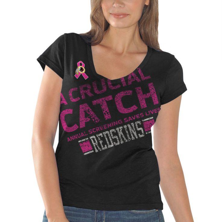 Washington Redskins Women's Breast Cancer Awareness Crucial Catch Fanfare T-Shirt - Black